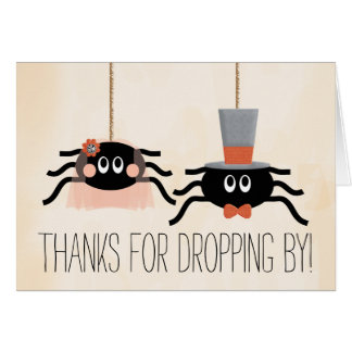 Niedliche Spinnen-Halloween-Hochzeit danken Ihnen Karte