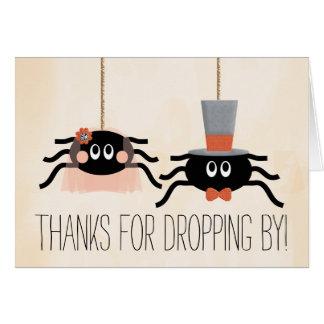 Niedliche Spinnen-Halloween-Hochzeit danken Ihnen Mitteilungskarte