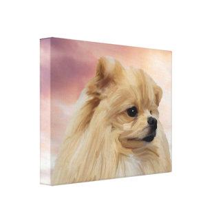 Niedliche Spitz-Hundewatercolor-Öl-Malerei Leinwanddruck