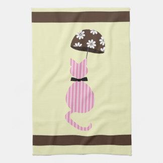 Niedliche Streifen-Katze mit Regenschirm Handtuch
