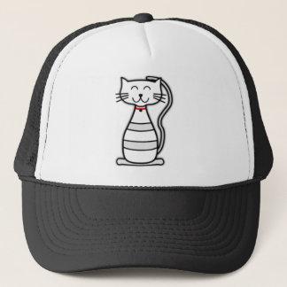 Niedliche Stripey Weiß-Katze Truckerkappe