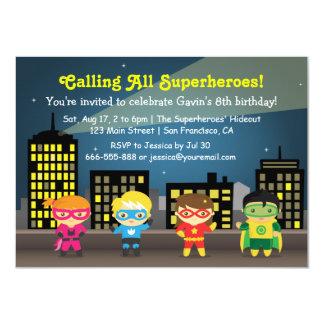 Niedliche Superhero-Kindergeburtstag-Party Karte