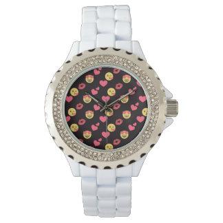 niedliche süße emoji Liebeherzen küssen Armbanduhr