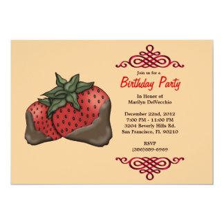 NIEDLICHE süße rote Erdbeeren mit roter Grenze 12,7 X 17,8 Cm Einladungskarte