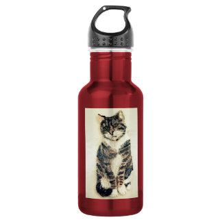 Niedliche Tabby-Katzen-Kunst Edelstahlflasche