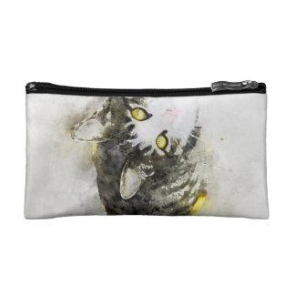 Niedliche Tabby-Katzewatercolor-Kunst Makeup-Tasche