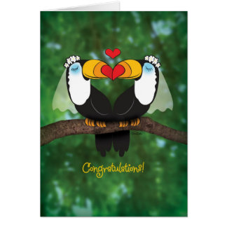 Niedliche Toucan lesbische Hochzeits-Glückwunsch-K Grußkarte