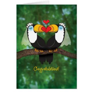 Niedliche Toucan lesbische Hochzeits-Glückwunsch-K Karte