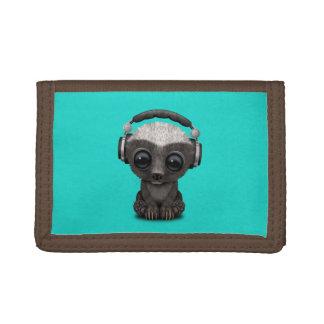 Niedliche tragende Kopfhörer Baby-Honig-Dachs-DJ