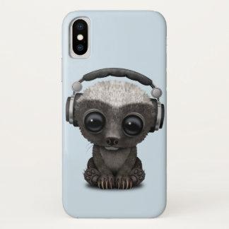 Niedliche tragende Kopfhörer Baby-Honig-Dachs-DJ iPhone X Hülle