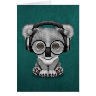 Niedliche tragende Kopfhörer Baby-Koala-Bärn-DJ Karte
