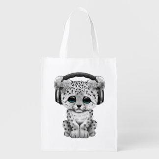 Niedliche tragende Kopfhörer Schneeleopard CUBs Wiederverwendbare Einkaufstasche