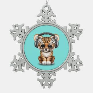 Niedliche tragende Kopfhörer Tiger-CUBs Schneeflocken Zinn-Ornament