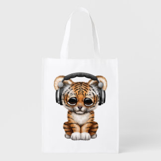 Niedliche tragende Kopfhörer Tiger-CUBs Wiederverwendbare Einkaufstasche