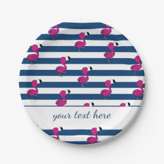 niedliche tropische rosa blaue Streifen der Pappteller