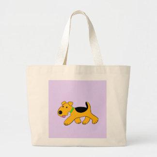 Niedliche Trotting Airedale-Terrier-Welpen-Tasche Jumbo Stoffbeutel