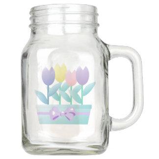 Niedliche Tulpe-glückliches Ostern-Maurer-Glas Einmachglas