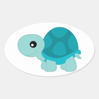 Niedliche Türkis-Schildkröte Ovaler Aufkleber