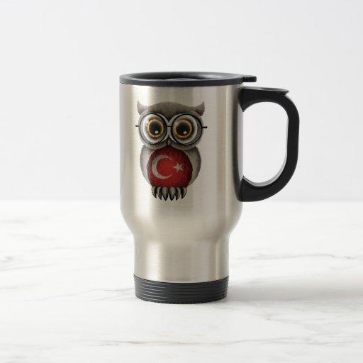Niedliche türkische Flaggen-Eulen-tragende Gläser Kaffeetasse