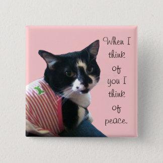 Niedliche Tuxedo-Katze denken an Quadratischer Button 5,1 Cm