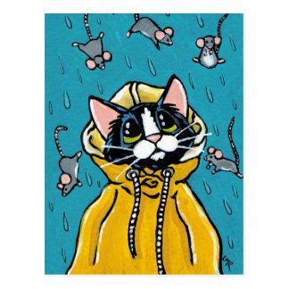Niedliche Tuxedo-Katze und Regnen der Postkarte