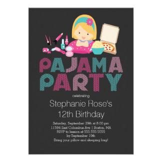 Niedliche Tween-Pyjama-Geburtstags-Party Einladung