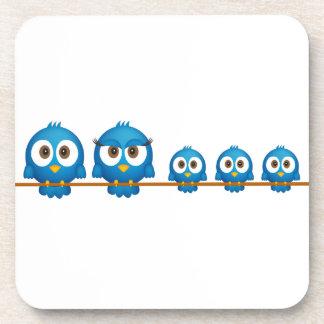 Niedliche Twittervogelfamilien-Cartoon-Untersetzer Untersetzer