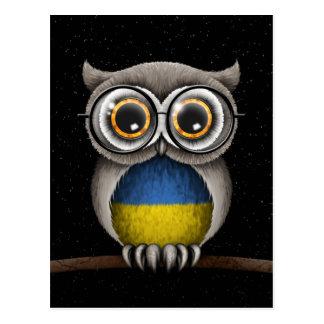 Niedliche ukrainische Flaggen-Eulen-tragende Postkarte