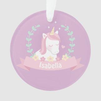 Niedliche Unicornblumenwreath-Mädchen-lila Ornament