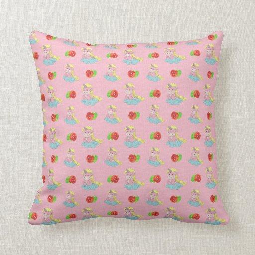 Niedliche Unicorns u. glückliche Apfel-rosa Kissen