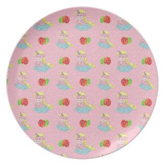 Niedliche Unicorns u. glückliche Apfel-rosa Platte Party Teller