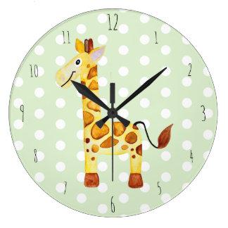 Niedliche Unisexwatercolor-Giraffen-Safari Große Wanduhr