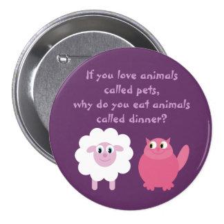Niedliche Vegetarier-/Tierrechte kundengerecht Buttons