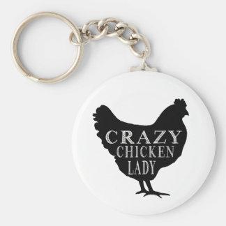 Niedliche verrückte Huhn-Dame Standard Runder Schlüsselanhänger