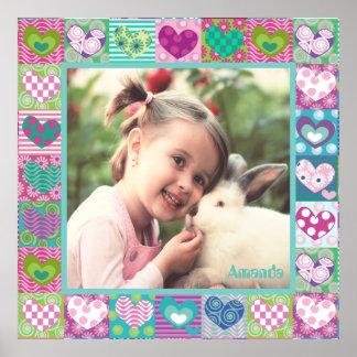 Niedliche verzierte Herz-Fotogrenze Poster