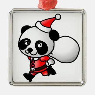 niedliche Verzierung Sankt-Pandas Weihnachts Quadratisches Silberfarbenes Ornament