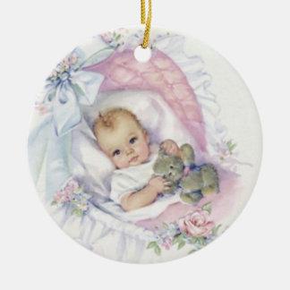 Niedliche Vintage Baby-Verzierung Rundes Keramik Ornament