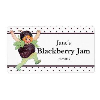 Niedliche Vintage BlackBerry-Marmelade Versandetiketten