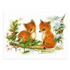 Niedliche Vintage Fox-Weihnachtsszene Postkarte