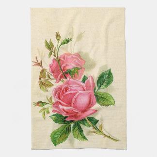 niedliche Vintage rosa Rosen Küchenhandtücher