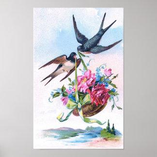 Niedliche Vintage Vögel u. Blumen mit Blumen Poster
