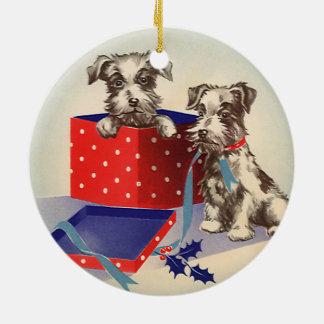 Niedliche Vintage Weihnachtsgruß-Welpen-Hunde Keramik Ornament