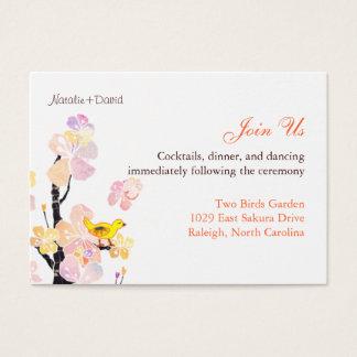 Niedliche Vogel-Hochzeits-Empfangs-Einschließung Visitenkarte