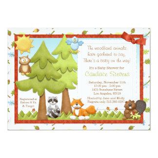 Niedliche Waldtier-Baby-Duschen-Einladung 12,7 X 17,8 Cm Einladungskarte
