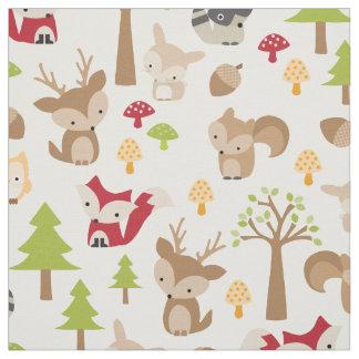 Niedliche Waldtiere und Waldmuster Stoff