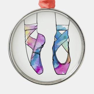 Niedliche Watercolor-Tanzen-Ballett-Schuhe für Rundes Silberfarbenes Ornament