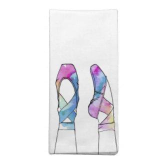Niedliche Watercolor-Tanzen-Ballett-Schuhe für Serviette
