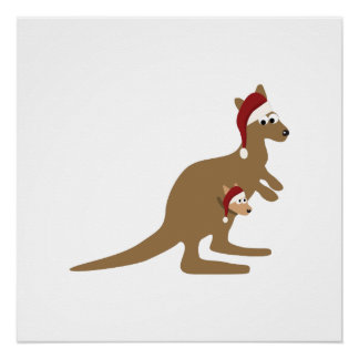 Niedliche Weihnachtskänguruhs Poster