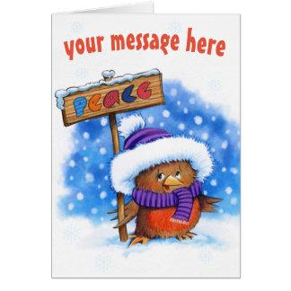 Niedliche Weihnachtskarte Friedensrobins Karte