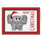 """Niedliche Weihnachtsmannmütze-Elefant-""""frohe Karte"""